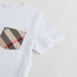 Boys White T-Shirt With Check Pocket