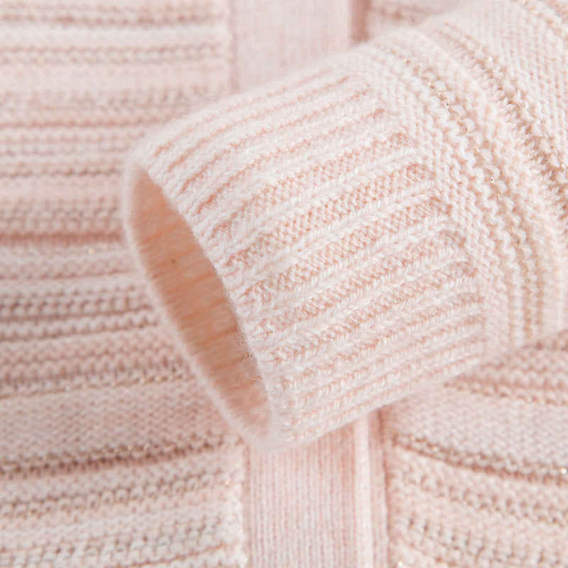 Girls Pink Stripes Knitted Cardigan