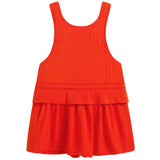 Girls Red Viscose Pinafore Dress