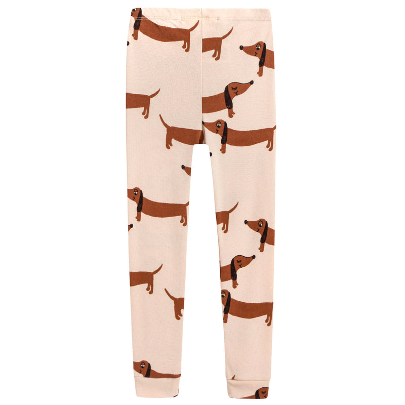 "Girls Beige  Organic Cotton ""Dog"" Trousers"