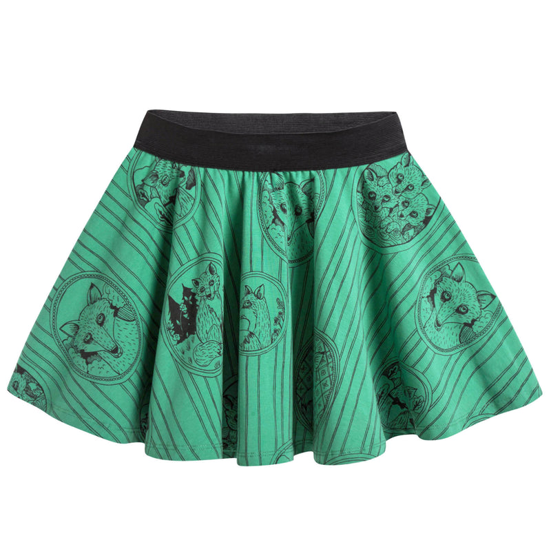 Girls Green Fox Family Skirt
