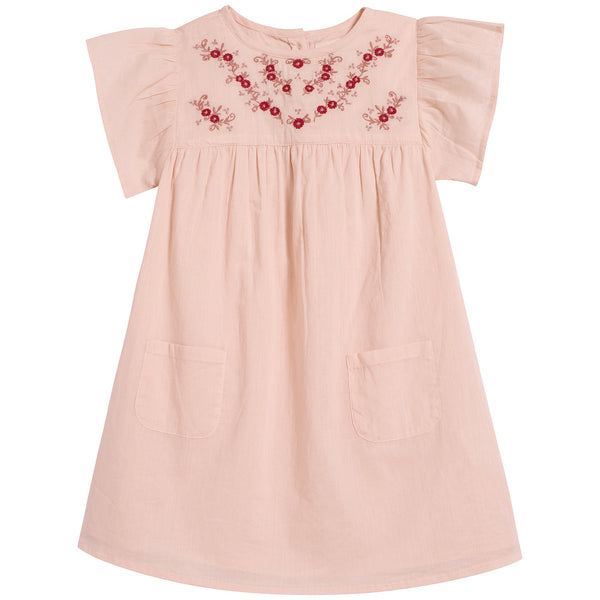 Baby Girls Pink Embroidered Cotton Dress
