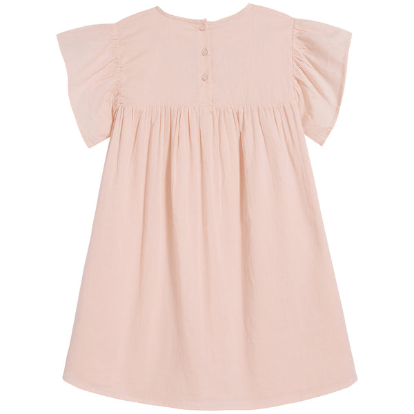 Girls Pink Embroidered Cotton Dress