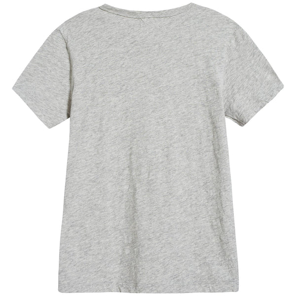 Girls Grey Logo Cotton T-shirt