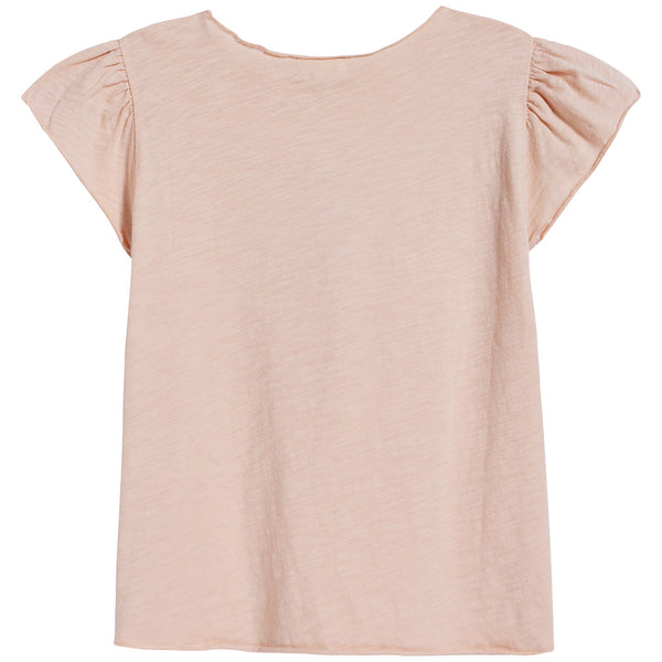 Girls Light Pink Printing Cotton T-shirt