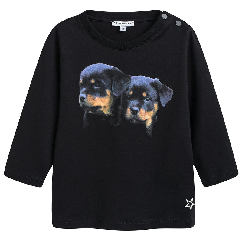 Baby Boys Black Dogs Printed T-Shirt