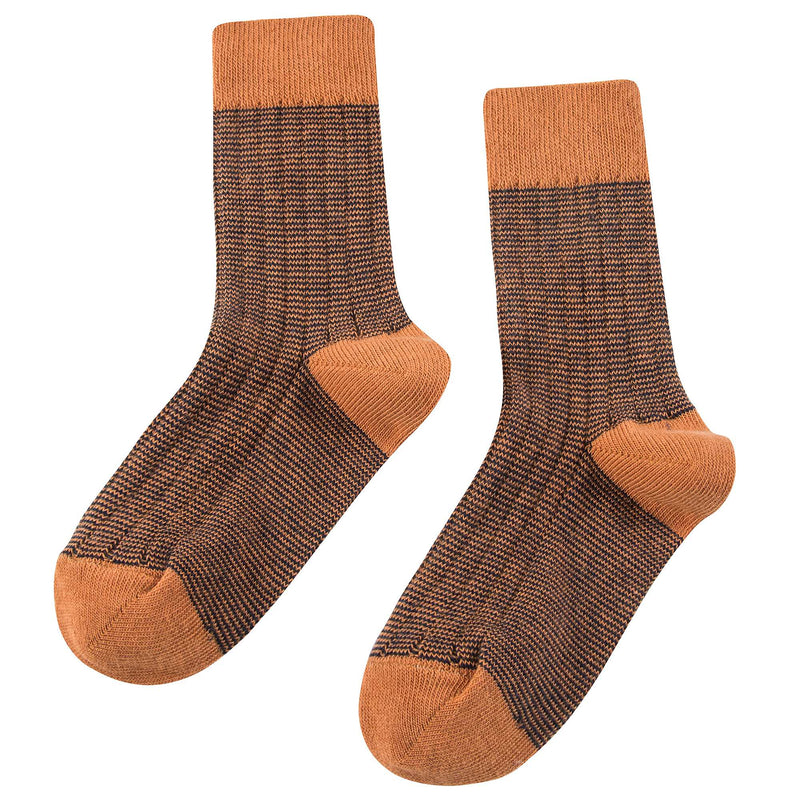 Boys & Girls Brown Cotton Knitted Socks