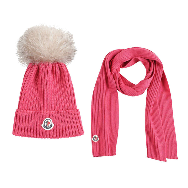 Girls Dark Pink Virgin Wool Hat & Scarf Set