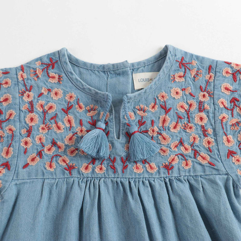 Baby Girls Blue Embroidered Cotton Dress