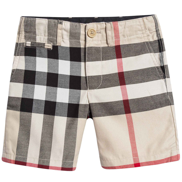 Baby Boys Beige Checked Cotton Shorts
