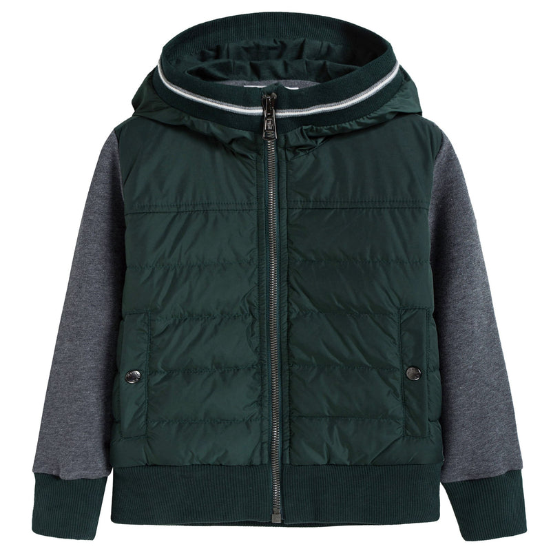 Boys Green & Grey Zip-up Top