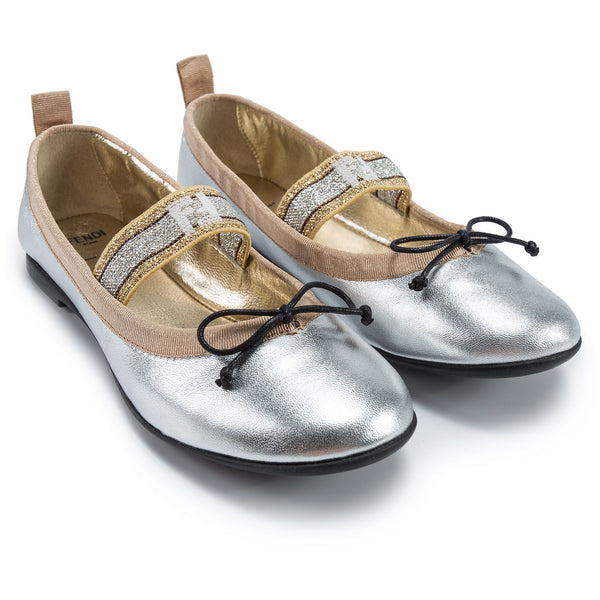 Girls White Gold Shoes
