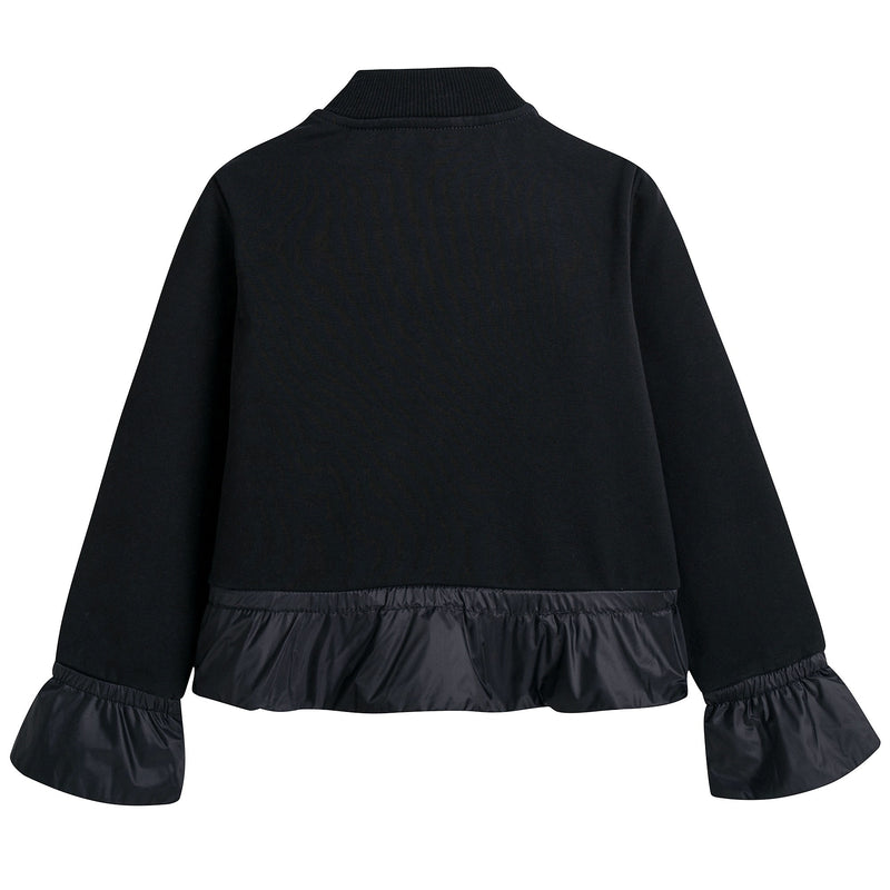 Girls Black Down Padded Cardigan With Flounces
