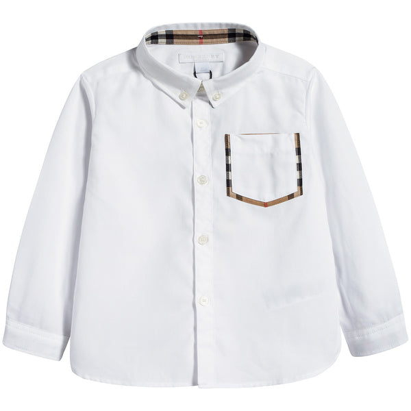 Baby Boys White Cotton Polo Shirt
