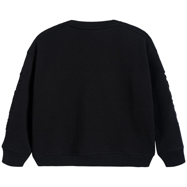 Boys Black Logo Cotton Sweatshirt