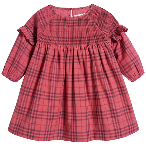 Baby Girls Coral Red Cotton Dress