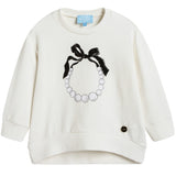 Girls White Necklace Printed Sweatshirt