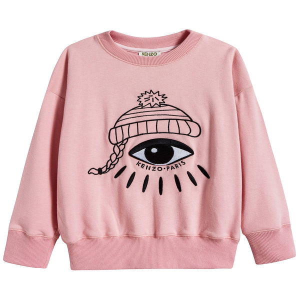 Girls Middle Pink With Eyes Cotton Sweatshirt