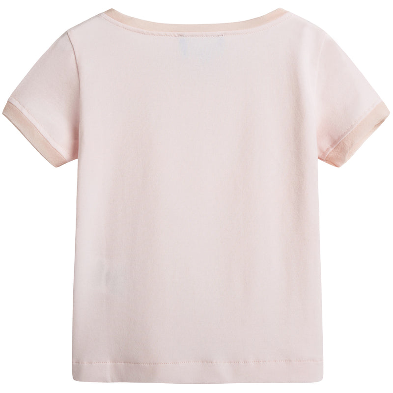 Girls Pink Cotton T-shirt With Flower
