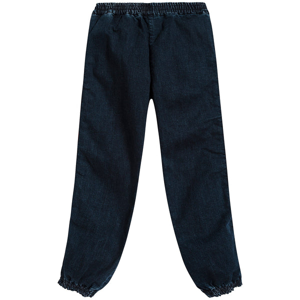 Boys Denim Blue Logo Cotton Trousers