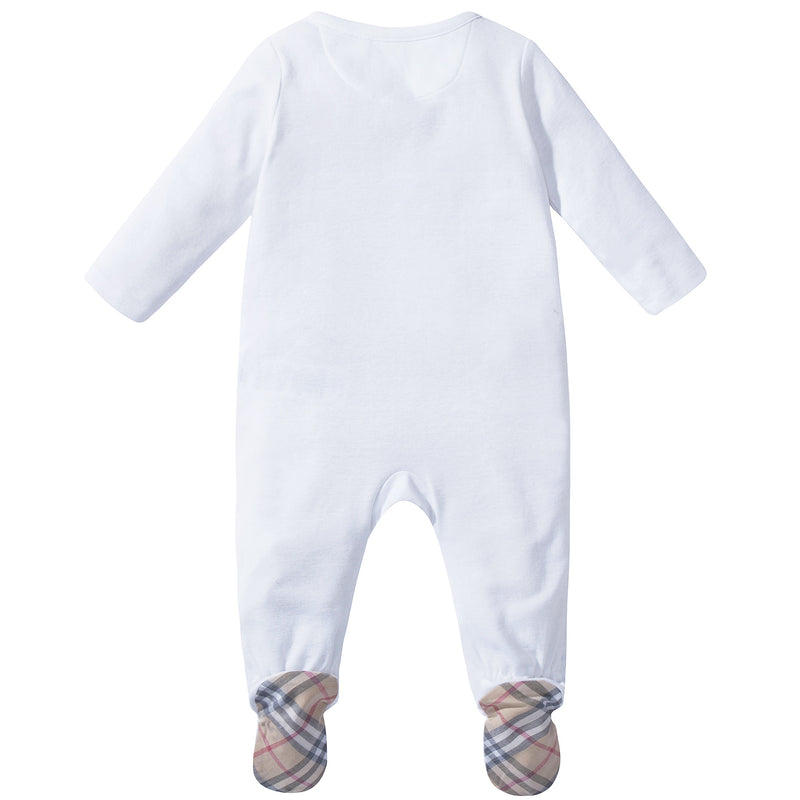 Baby  White  Pale Classic  Check   Cotton  Three-piece Gift Set