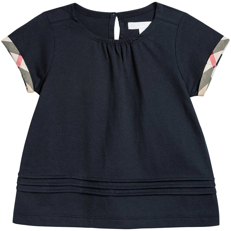 Girls Navy Blue Cotton T-shirt