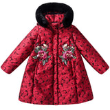 Girls  Red  &  Black  fur collar   Coat