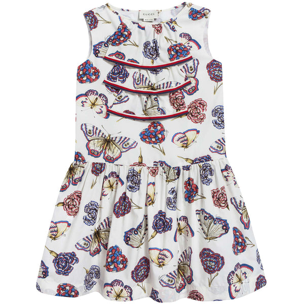 Girls White Magnol & Sylvie Printed Dress