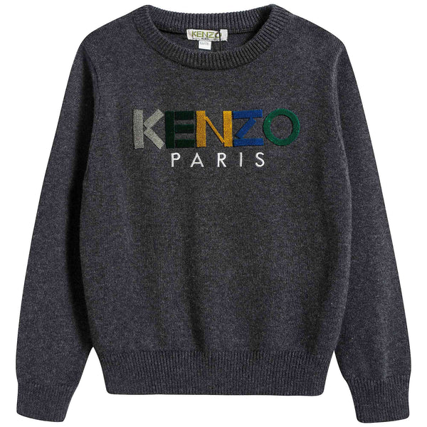 Boys Dark Marl Grey Logo Cotton Sweater