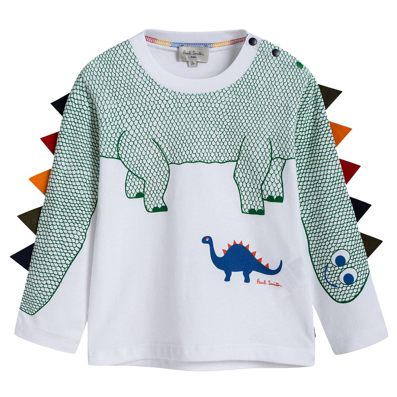 Baby Boys White & Green Dinosaur T-shirt