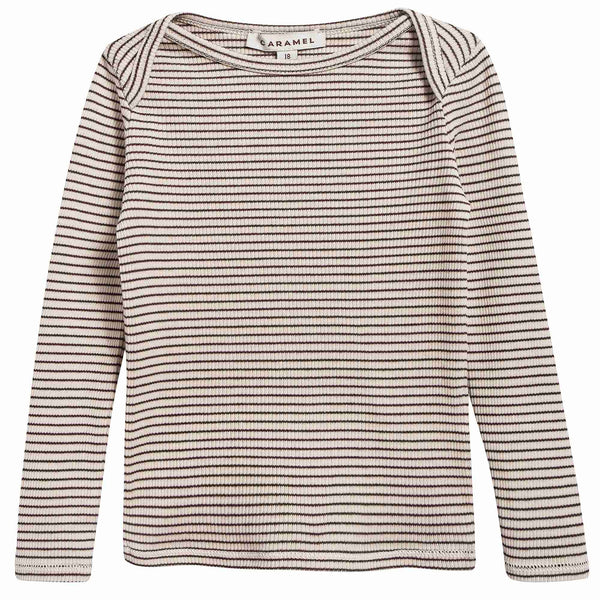 Baby Sand & Chocolate Stripe Cotton Jersey T-shirt