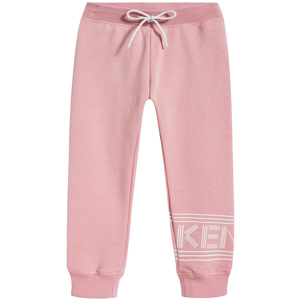 Girls Middle Pink Logo Cotton Trousers