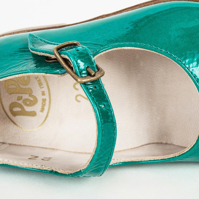 Girls Green Lambskin Leather Shoes
