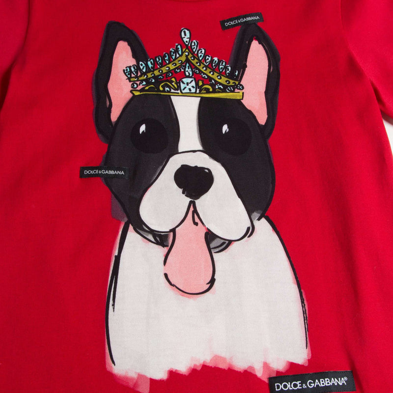 Girls & Boys Red Dog Cotton T-shirt