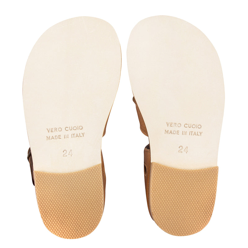 Girls Beige Lambskin Leather Sandals