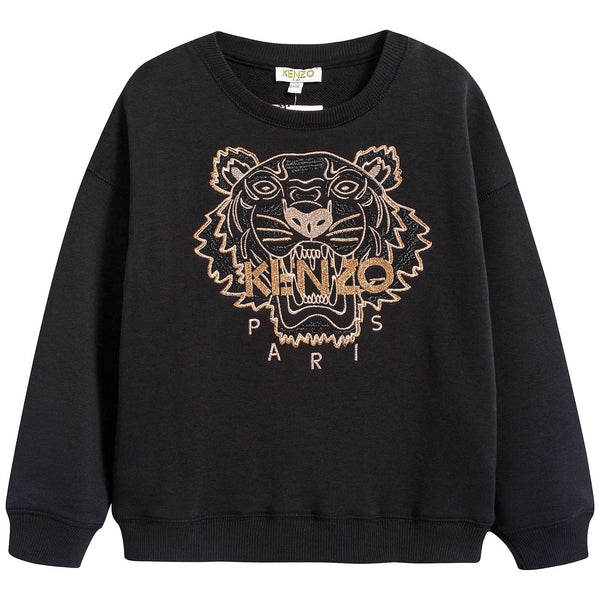 Girls Black Tiger Printed Cotton Sweatshirt