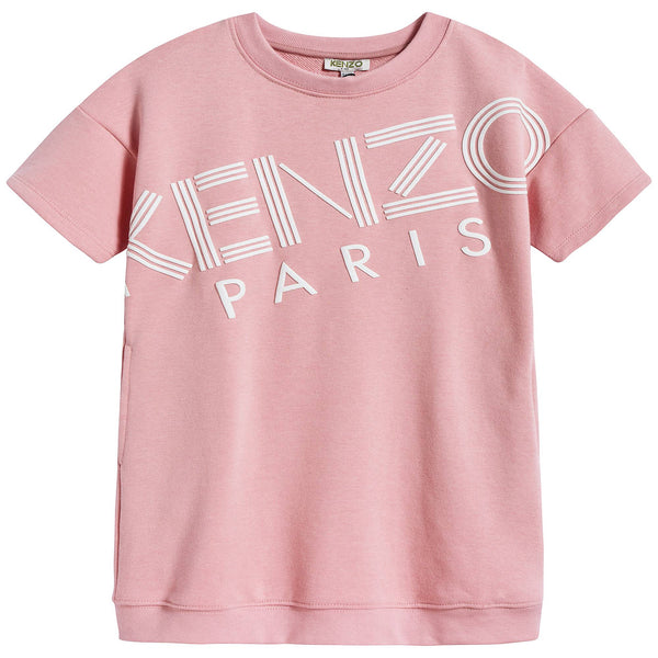 Girls Middle Pink Logo Cotton Dress
