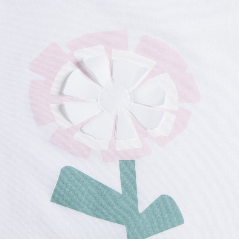 "Girls White ""Light  Pink  Flower"" Cotton T-shirt"