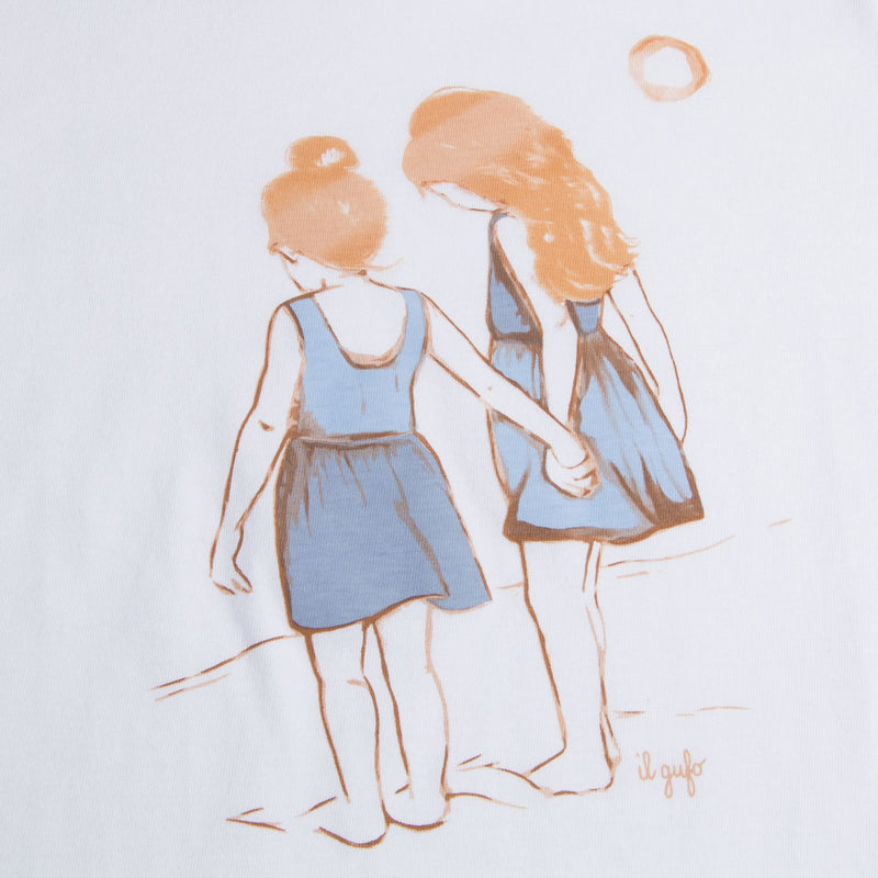 "Girls White ""Denim Blue Girls"" Cotton T-shirt"