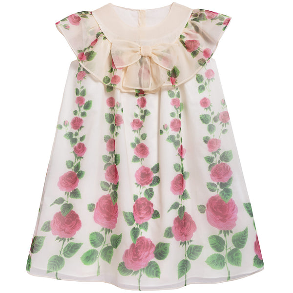 Girls Ivory & Pink Printed Silk Dress