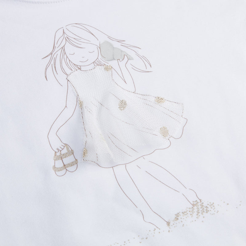 "Girls White ""Gold Girls"" Cotton T-shirt"