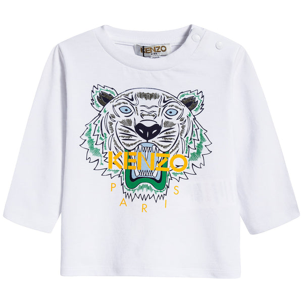 Baby Boys White Tiger Cotton T-shirt