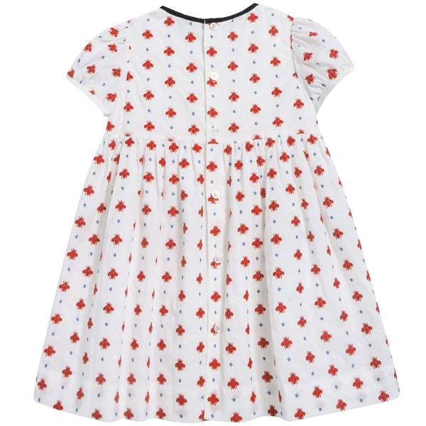 Baby Girls White Milk & Red Printed Dress