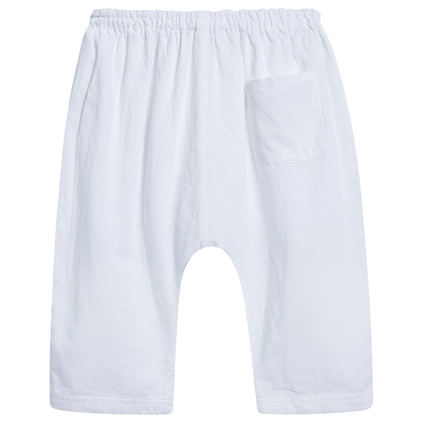 Baby White Cotton Woven Trousers