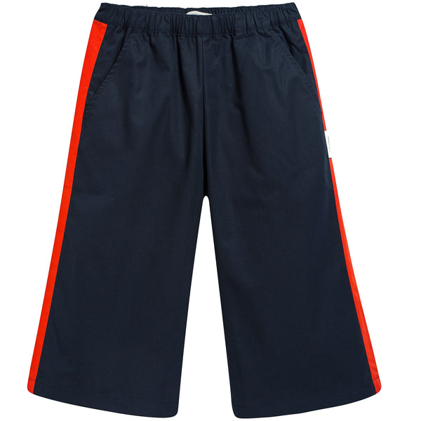 Girls Navy & Carmine Cotton Cool Pant