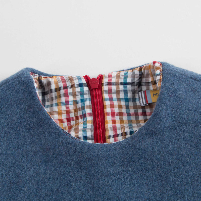 Girls Blue & Red Wool Dress