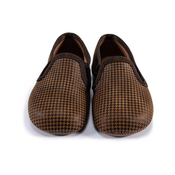 Girls Brown Houndstooth Flats