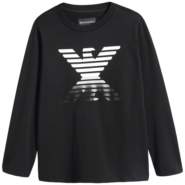 Boys Black Logo Cotton Shirt