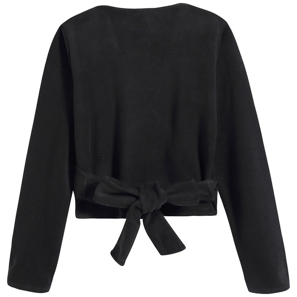 Girls Black V-neck Top