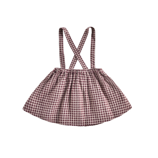 Girls Aubergine Vichy Organic Cotton Skirt